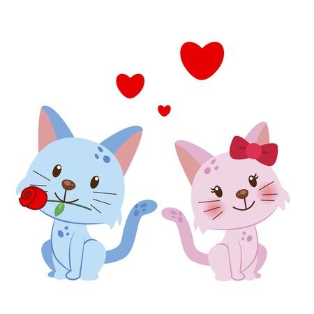 고양이 한 쌍의 그림이 함께 모여