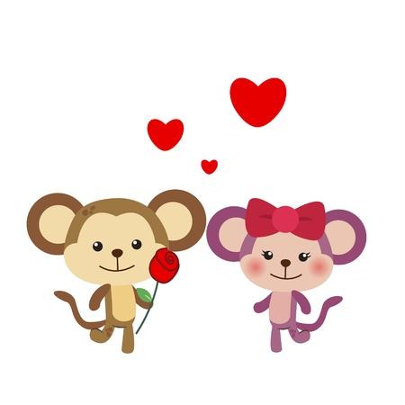 courtship: illustration of a pair of monkey huddled together