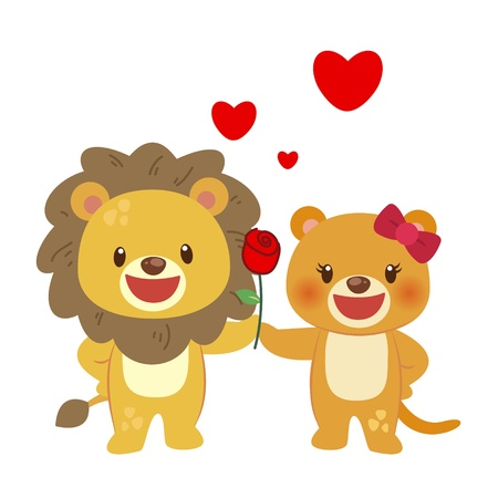 illustration of a pair of lion huddled together Vector