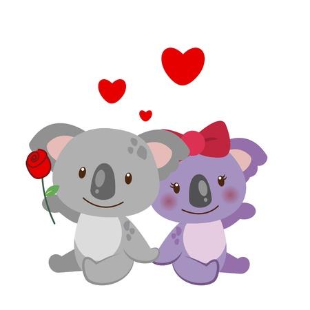 suitor: illustrazione di una coppia di koala stretti l'uno all'altro