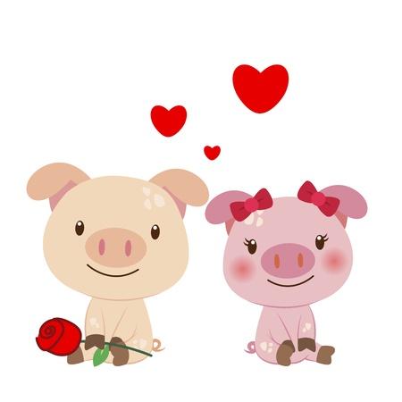 suitor: illustrazione di una coppia di maiale stretti l'uno all'altro