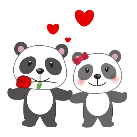 courting: illustration of a pair of panda huddled together