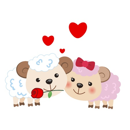 two animals: illustration of a pair of sheep huddled together Illustration