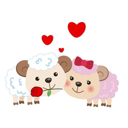 suitor: illustrazione di una coppia di pecore stretti l'uno all'altro