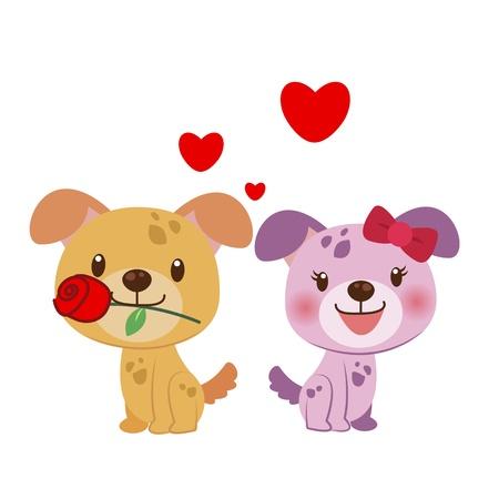 suitor: illustrazione di una coppia di cane stretti l'uno all'altro
