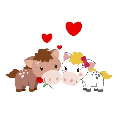 enamorados caricatura: ilustración de un par de caballos apiñados