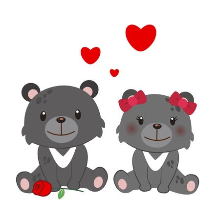 courtship: illustration of a pair of Formosan black bear huddled together Illustration