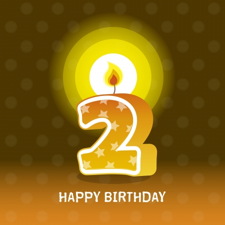 birthday card, second birthday with candle , number 2 Vector