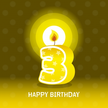 seventieth: birthday card, third birthday with candle , number 3