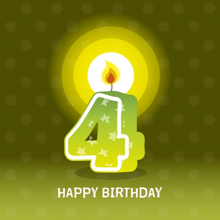 birthday card, fourth birthday with candle , number 4 Vector