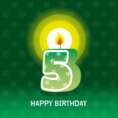 seventieth: birthday card, fifth birthday with candle , number 5