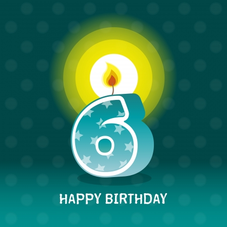 sixtieth: birthday card, sixth birthday with candle , number 6