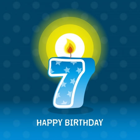 seventieth: birthday card, seventh birthday with candle , number 7 Illustration