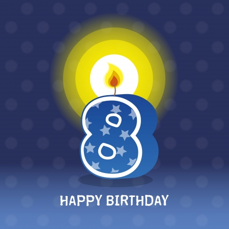 seventieth: birthday card, eighth birthday with candle , number 8