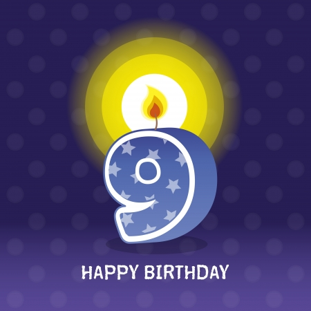 seventieth: birthday card, ninth birthday with candle , number 9 Illustration