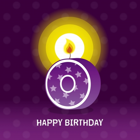 seventieth: birthday card, zeroth birthday with candle , number 0