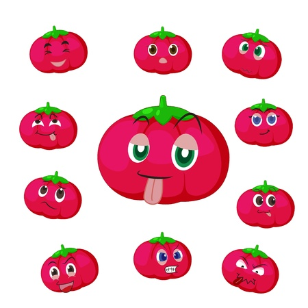 glower: tomato cartoon with many expressions isolated on white background
