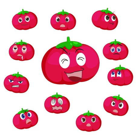 tomato cartoon with many expressions isolated on white background Vector