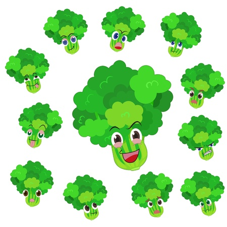glower: celery cartoon with many expressions isolated on white background
