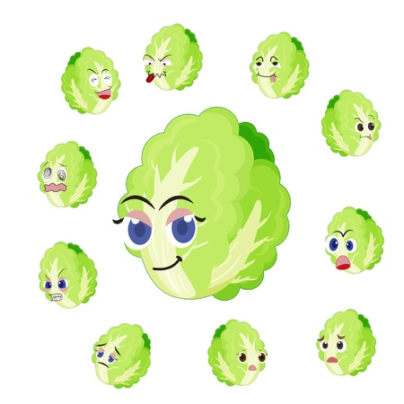 glower: Chinese cabbage cartoon with many expressions isolated on white background
