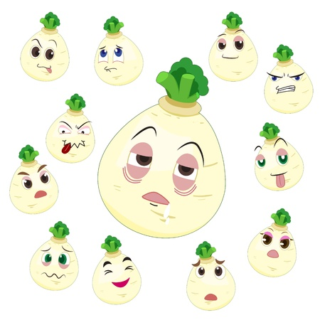 white turnip cartoon with many expressions isolated on white background