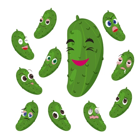 glower: cucumber cartoon with many expressions isolated on white background