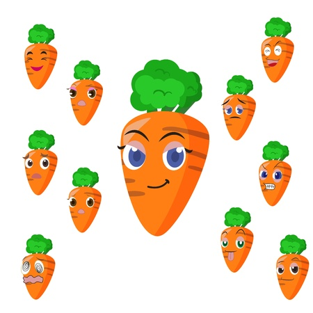carrot cartoon with many expressions isolated on white background