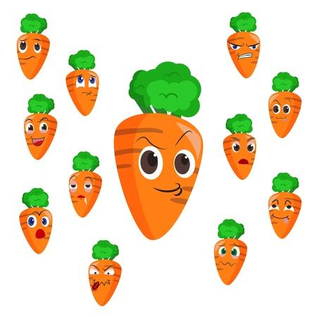zanahoria caricatura: zanahoria historieta con muchas expresiones aisladas sobre fondo blanco
