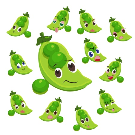 glower: pea cartoon with many expressions isolated on white background