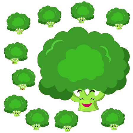 broccoli cartoon with many expressions isolated on white background