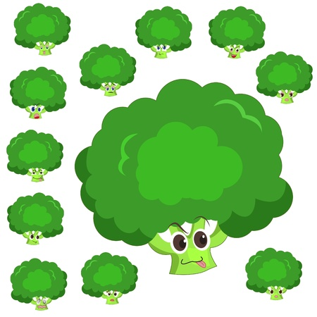 broccoli cartoon with many expressions isolated on white background Vector