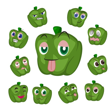 glower: green pepper cartoon with many expressions isolated on white background Illustration