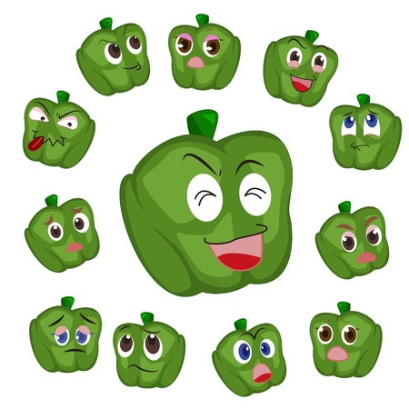 green pepper cartoon with many expressions isolated on white background Stock Vector - 17274563