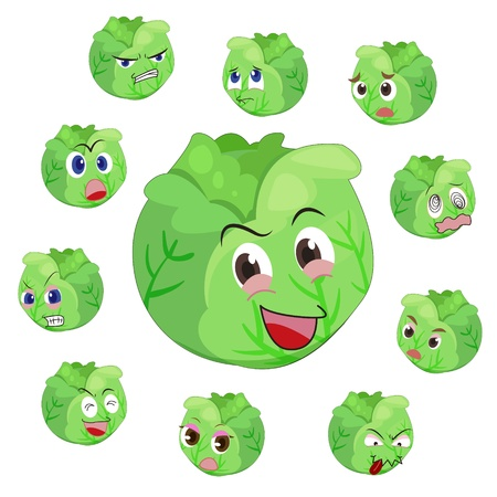 cabbage with many expressions isolated on white background Stock Vector - 17274554