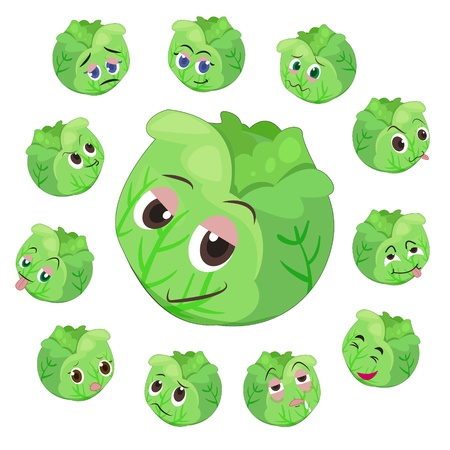 cabbage cartoon with many expressions isolated on white background Stock Vector - 17274559