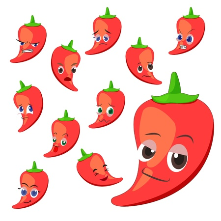 hot pepper: hot pepper cartoon with many expressions isolated on white background