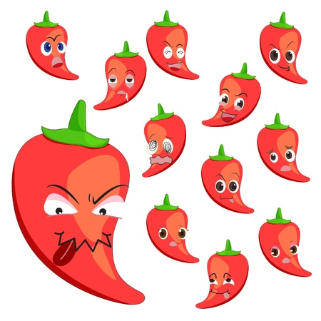 glower: hot pepper cartoon with many expressions isolated on white background