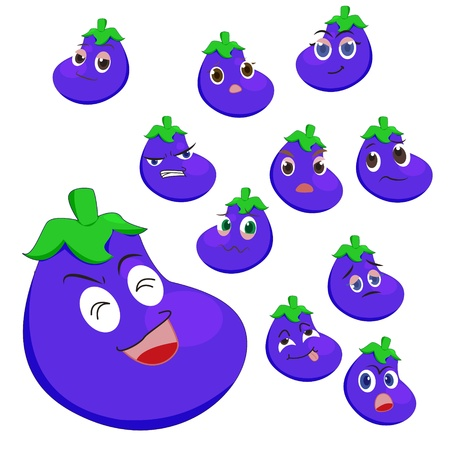 glower: eggplant cartoon with many expressions isolated on white background Illustration