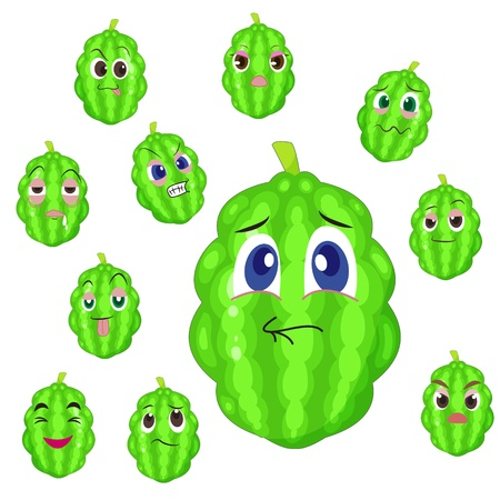 balsam apple cartoon with many expressions isolated on white background Stock Vector - 17274612