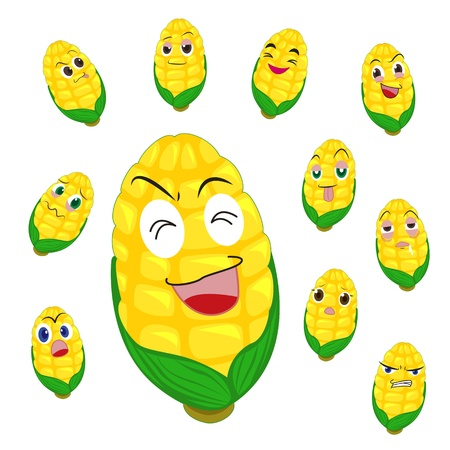corn cartoon with many expressions isolated on white background Vector