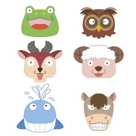 six cute cartoon animal head icons Vector