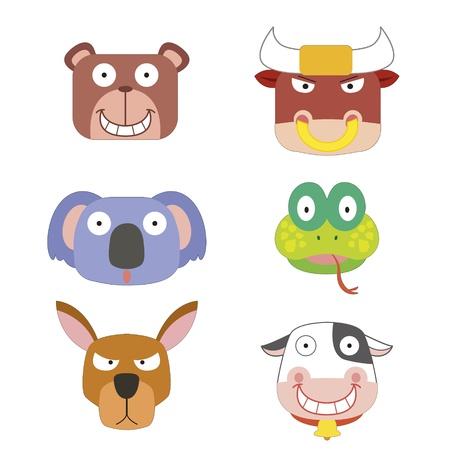 bull head: six cute cartoon animal head icons