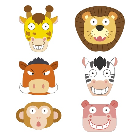 six cute cartoon animal head icons Stock Vector - 17274779