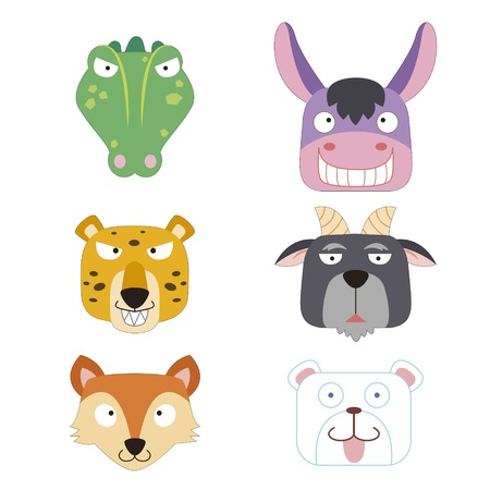 wild donkey: six cute cartoon animal head icons