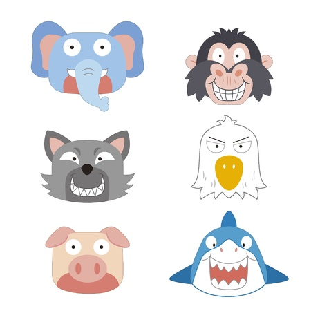 six cute cartoon animal head icons Stock Vector - 17274723