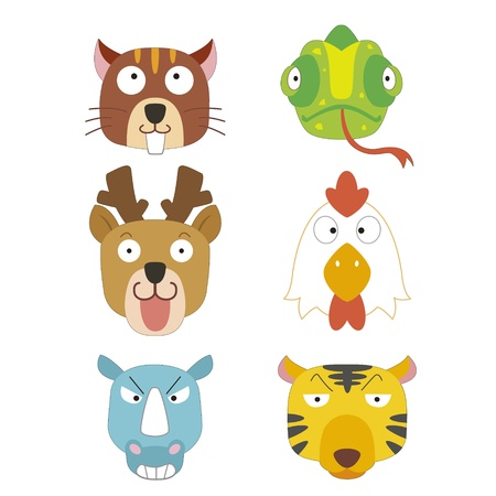 six cute cartoon animal head icons Stock Vector - 17274768