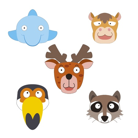 five cute cartoon animal head icons Vector