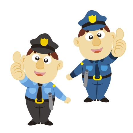 commend: funny cartoon policeman thumbs up