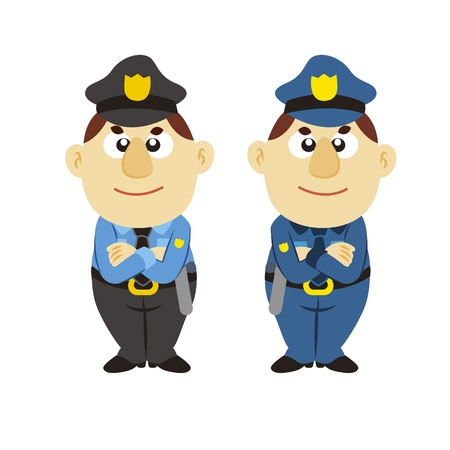 funny cartoon policeman, two colors Stock Vector - 17274773