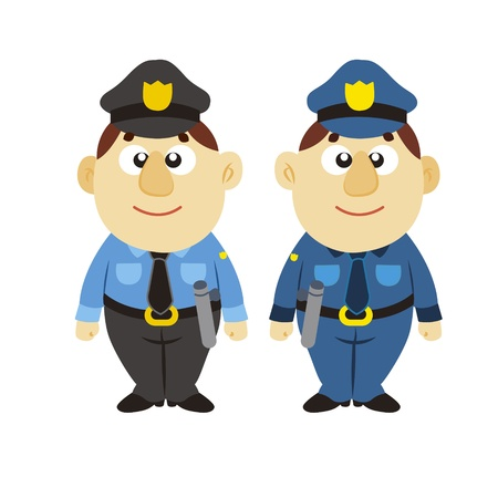safety officer: funny cartoon policeman, two colors Illustration